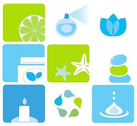 fragrance: Vector iconen verzamelen van schoonheid en spa pictogrammen op wit wordt geïsoleerd.