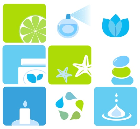 Vector icons collection of beauty and spa icons isolated on white. Stock Vector - 10013346