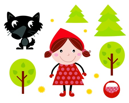 Collezione di icone di fiaba isolata on white: Red Riding Hood, Wolf, foresta ecc. Vettoriali