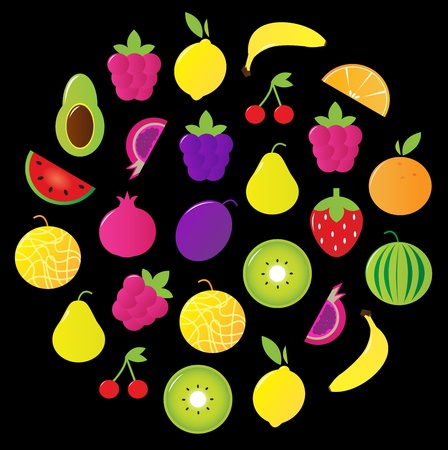 Fresh fruit and berry slices and elements. Vector Illustration