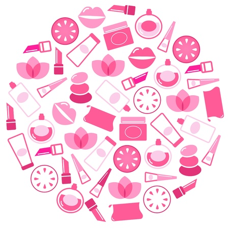 cosmetics collection: Beauty icons collection in sphere. Vector Illustration.