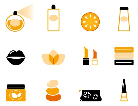 moisturizer: Vector collection of stylized beauty and spa icons.