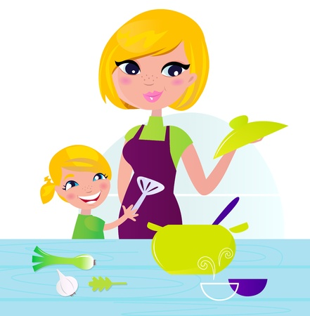soup and salad: Mother and daughter cooking. Vector Illustration isolated on white.