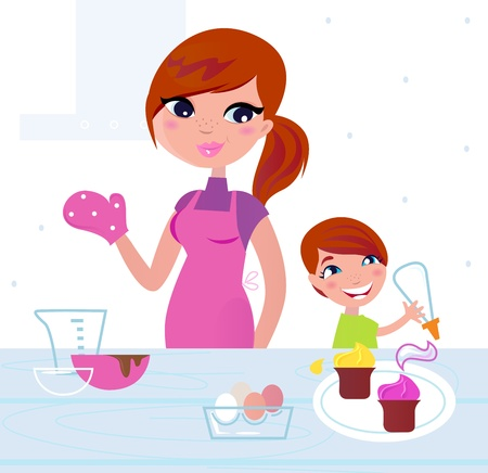 Mom and son baking birthday cookies. Vector Illustration  Vector
