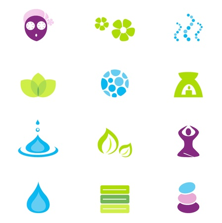 beauty care: Vector collection of wellness and spa icons and symbols. Vector