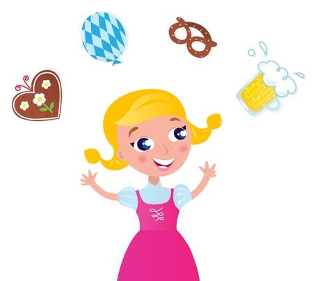 comida alemana: Linda chica b�vara rubia con accesorios aislados en blanco. Ilustraci�n vectorial.