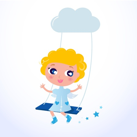 Blond Angel sitting in the sky - Vector Illustration.  Vector