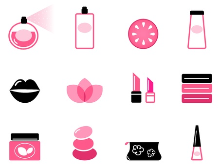 Vector set or collection of beauty icons isolated on white.   Vector