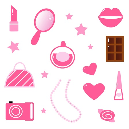 Sweet and cute Girls elements isolated on white background. Vector cartoon Illustration. Vector