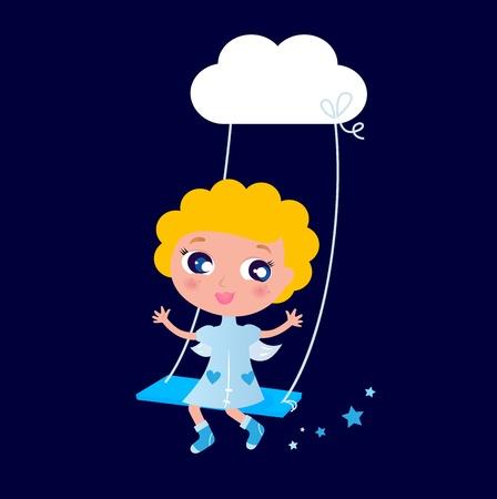 Cute angel Kid swinging in Air. Vector cartoon Illustration. Stock Vector - 10066748