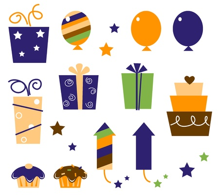 Icons and design elements for party celebration. Vector Illustration. Stock Vector - 10066749