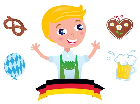 lederhosen: Blond boy with traditional Octoberfest symbols. Vector Illustration.