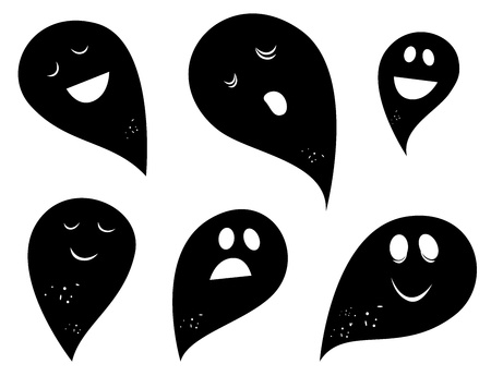 Happy Ghosts & Creatures silhouettes collection. Vector Vector