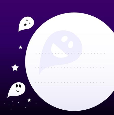 Halloween cute Ghosts flying aroud Moon. Vector Cartoon graphic element for your Message. Vector
