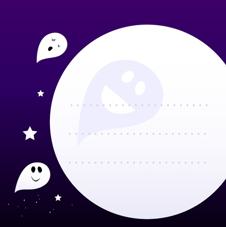 nightmare: Halloween cute Ghosts flying aroud Moon. Vector Cartoon graphic element for your Message. Illustration