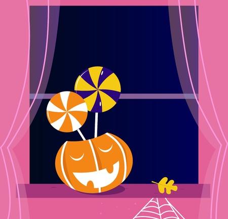 Pumpkin head and Helloween objects. Vector cartoon Illustration. Stock Vector - 10128357