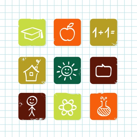 math paper: Hand drawn School icons. Isolated on school grid.