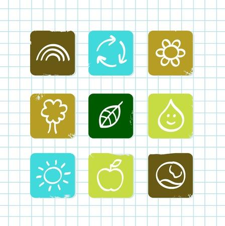 quimica verde: Colecciones de iconos de vector para la lecci�n de naturaleza y la ecolog�a de la escuela.