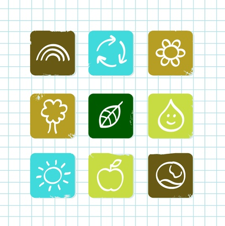 Vector icons collections for school nature and ecology lesson.  Vector