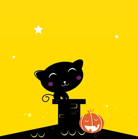 Black Cat sitting on the roof during Halloween. Vector Illustration. Vector