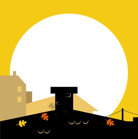 City or Town silhouette - black and yellow. Vector cartoon Illustration. Vector