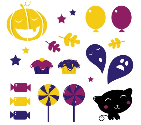 Halloween Icons or Elements collection isolated on white background. Vector  Vector