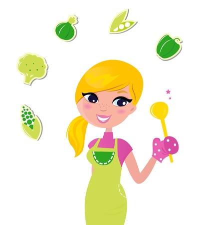 Linda mujer rubia cocinar alimentos saludables. Ilustración vectorial.