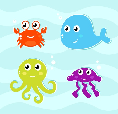 whale underwater: 4 water animals icons set. Vector Illustration.