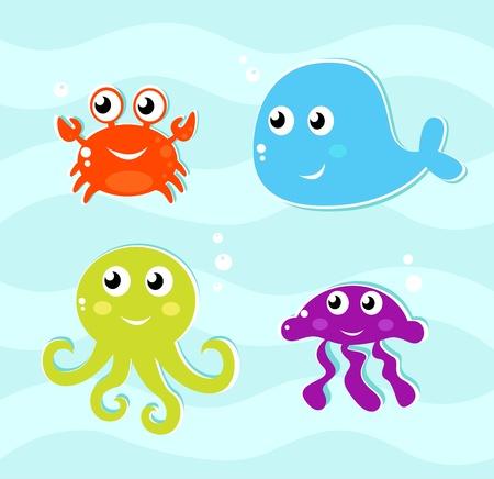 pulpo: conjunto de iconos de animales de agua 4. Ilustración vectorial.