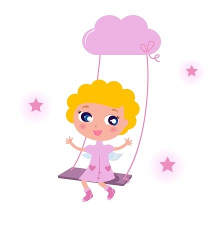 Blond cute angel swinging on sky with stars. Vector cartoon illustration. Vector