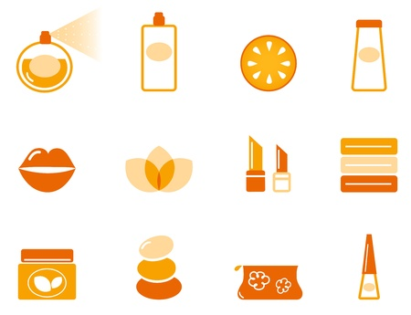 lotion: Vector collection of stylized cosmetic and wellness icons isolated on white.