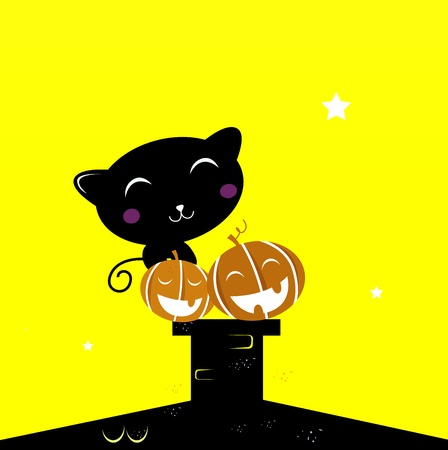 Black cat with Halloween Pumpkin heads. Vector Illustration. Vector