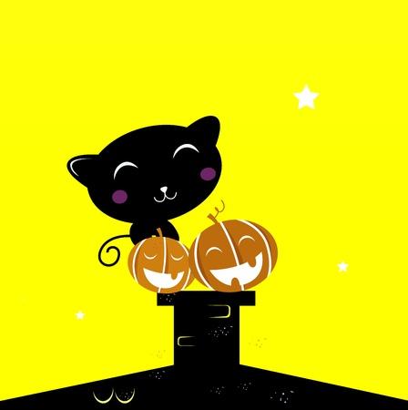Black cat with Halloween Pumpkin heads. Vector Illustration. Stock Vector - 10216854
