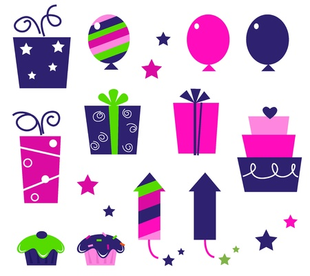 items: Cute icons collection in vibrant tones. Vector cartoon collection.