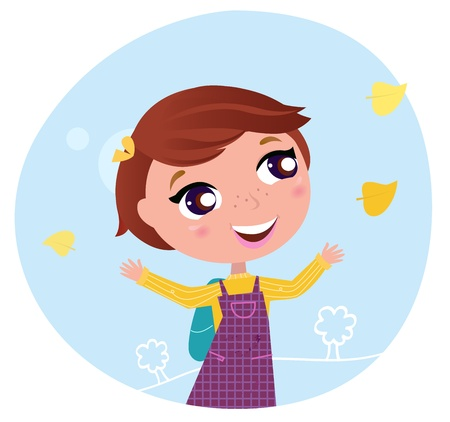 Little girl with Autumn leaves behind on her way to School. Vector Illustration. Vector