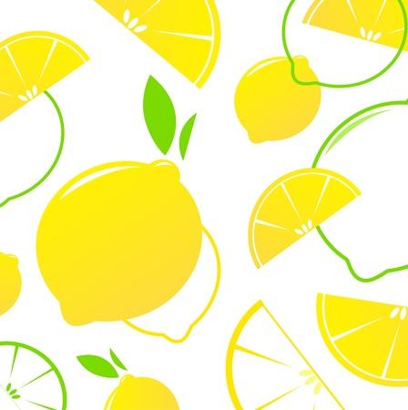 신선한 양식에 일치시키는 과일 - 흰색에 고립 된 레몬 조각. 벡터 배경입니다.