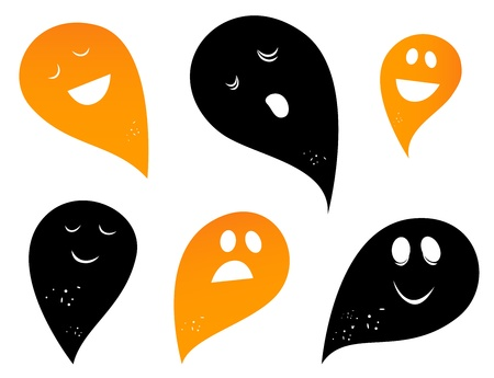 Happy Ghost & Creatures silhouettes collection. Vector Vector
