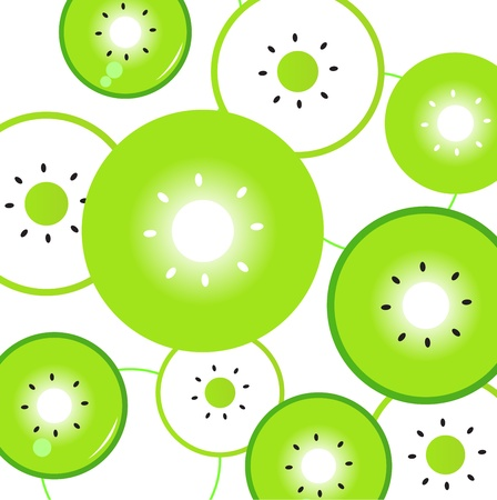 Fresh stylized Fruit pattern - Kiwi slices  Vector
