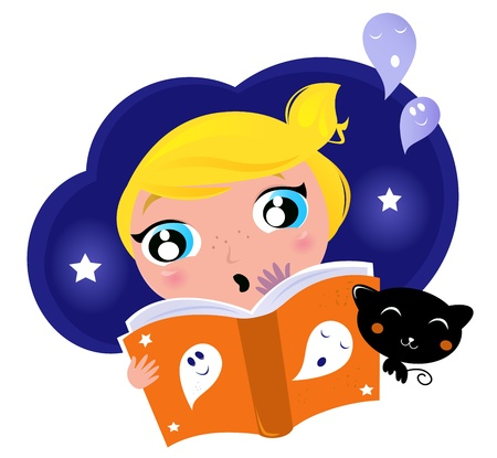 Cute Girl is reading Halloween Story Book, Black cat and Ghosts  Vector