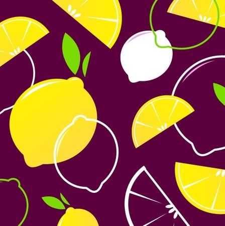 Fresh stylized Fruit - Lemon slices. Vector Background. Vector