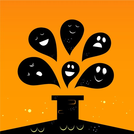 Collection of vector stylized Ghost creatures.  Vector