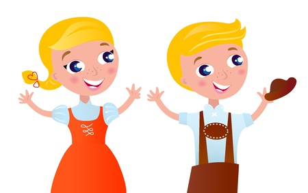party outfit: Bavarian couple isolated on white. Vector Illustration. Illustration
