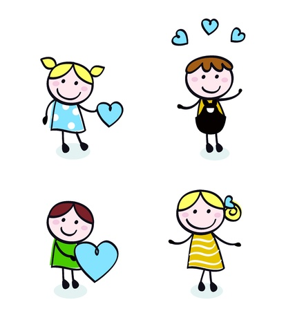 Vector Illustration of doodle retro kids isolated on white.  Vector