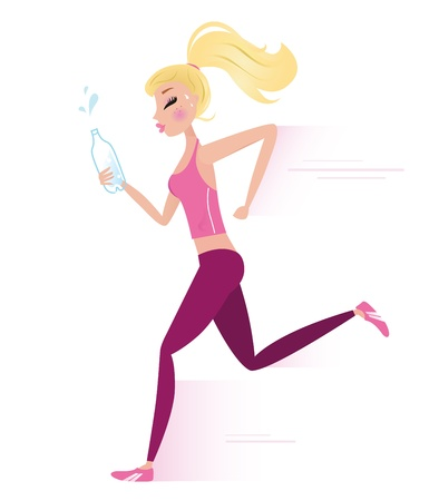 marathon runner: Sexy blond hair running woman. Lifestyle Vector Illustration. Illustration