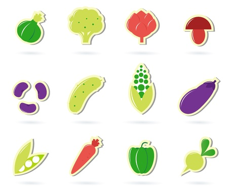 the corn salad: 12 icon collection of different vegetable, healthy food. Vector