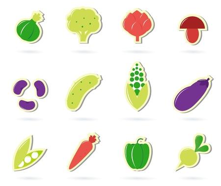 lechuga: colecci�n de 12 iconos de diferentes vegetales, alimentos sanos. Vector