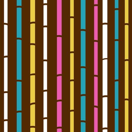 신선한 다채로운 대나무 패턴 줄무늬 일러스트