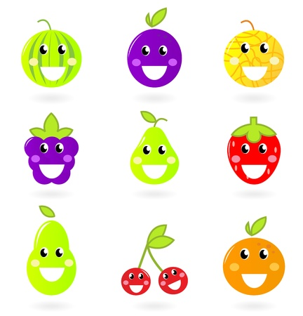 happy crazy fruit characters isolated on white. Vector