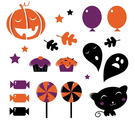 Halloween retro icons set  Vector