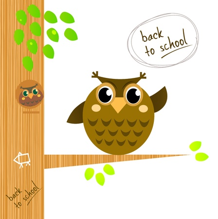 illustrated: Wise owl character showing Back to school sign Illustration